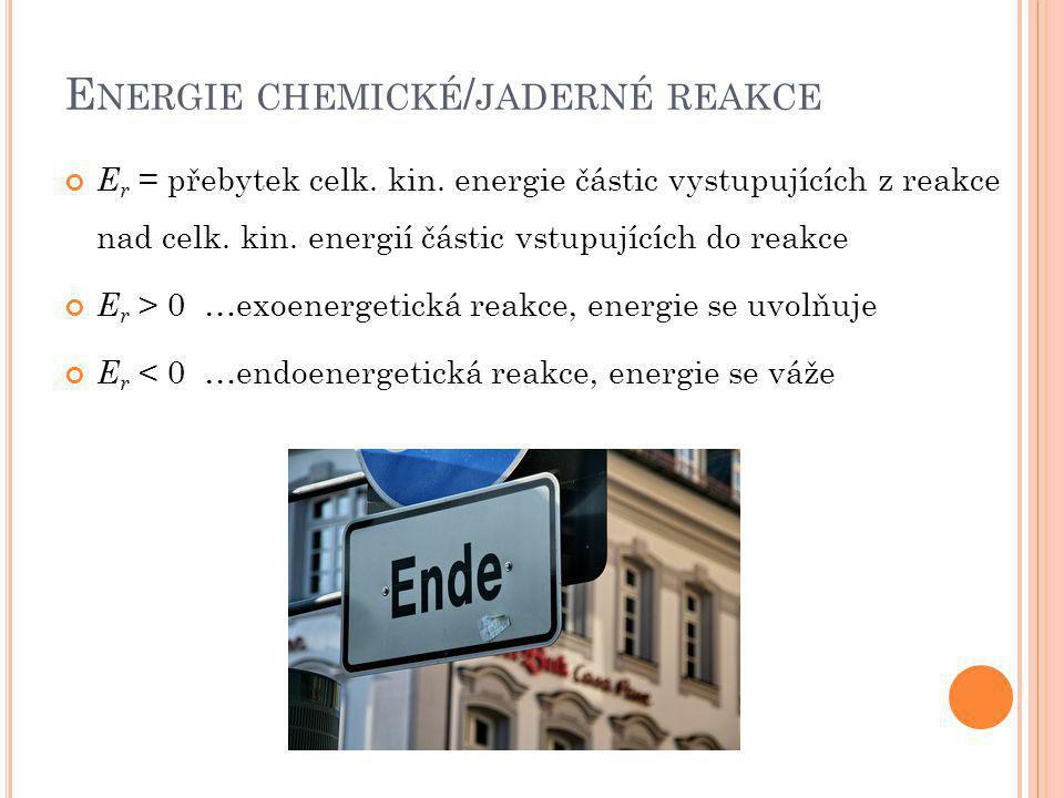 Energie chemické/jaderné reakce
