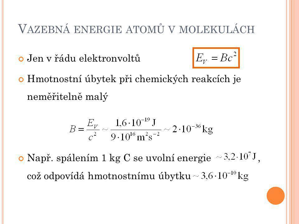 Vazebná energie atomů v molekulách