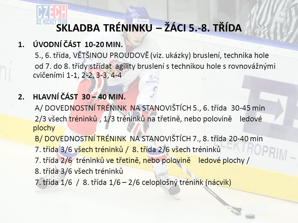 SKLADBA TRÉNINKU – ŽÁCI 5.-8. TŘÍDA