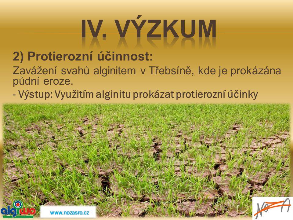 IV. Výzkum 2) Protierozní účinnost: