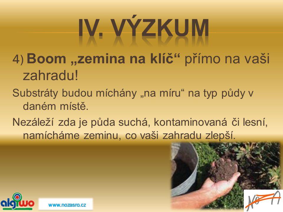 """IV. Výzkum 4) Boom """"zemina na klíč přímo na vaši zahradu!"""