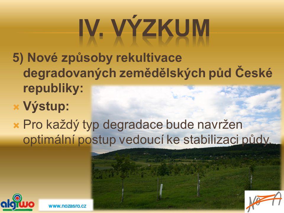 IV. Výzkum 5) Nové způsoby rekultivace degradovaných zemědělských půd České republiky: Výstup: