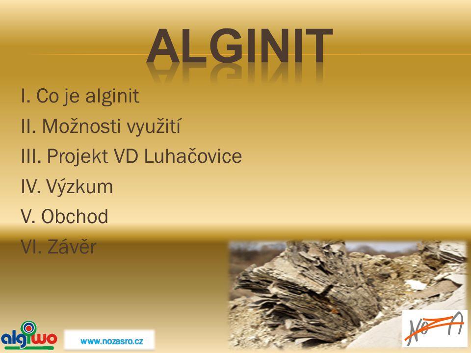 Alginit I. Co je alginit II. Možnosti využití III. Projekt VD Luhačovice IV. Výzkum V. Obchod VI. Závěr