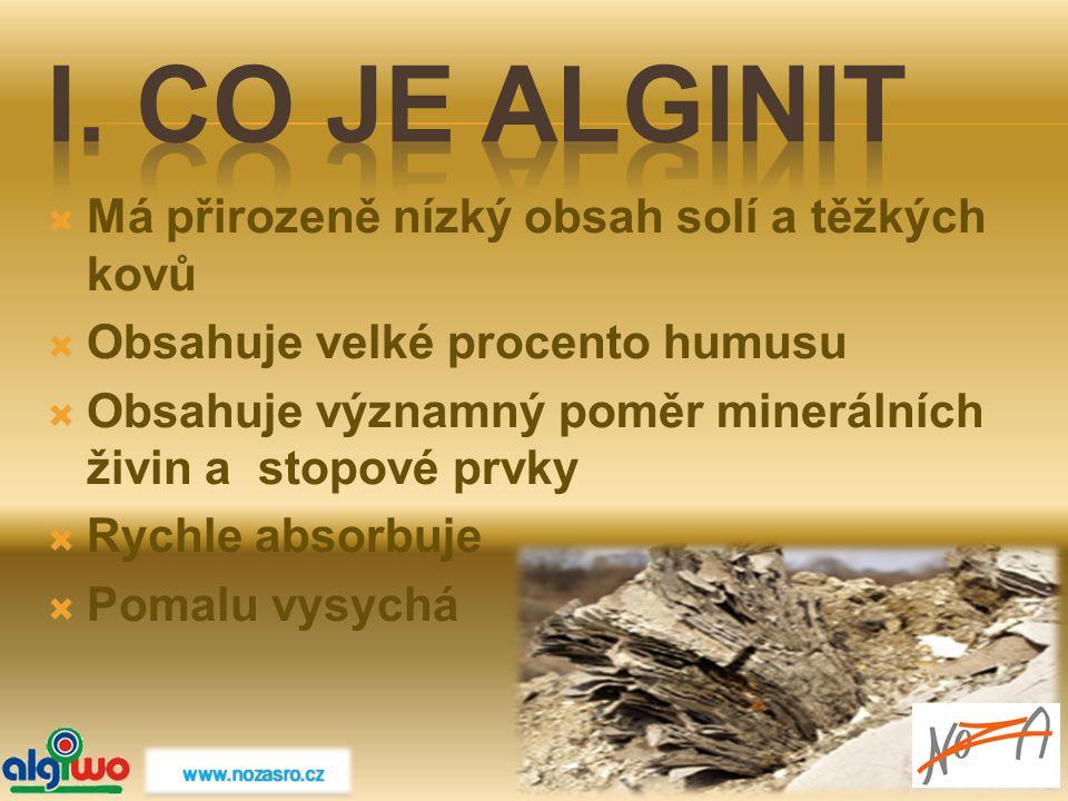 I. Co je Alginit Má přirozeně nízký obsah solí a těžkých kovů
