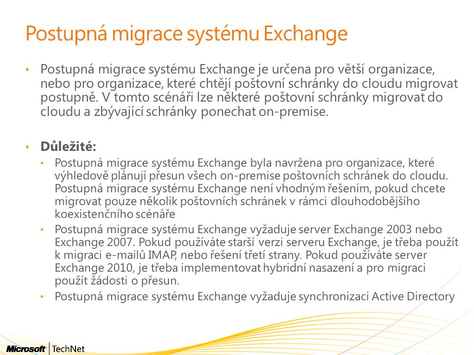 Postupná migrace systému Exchange