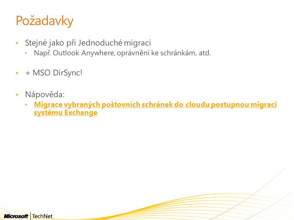 Požadavky Stejné jako při Jednoduché migraci + MSO DirSync! Nápověda: