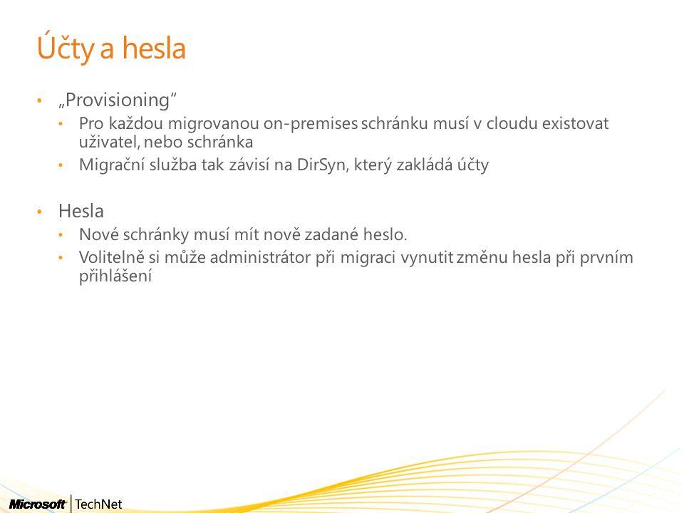 """Účty a hesla """"Provisioning Hesla"""