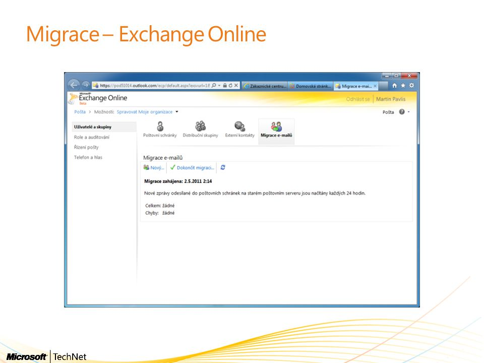 Migrace – Exchange Online
