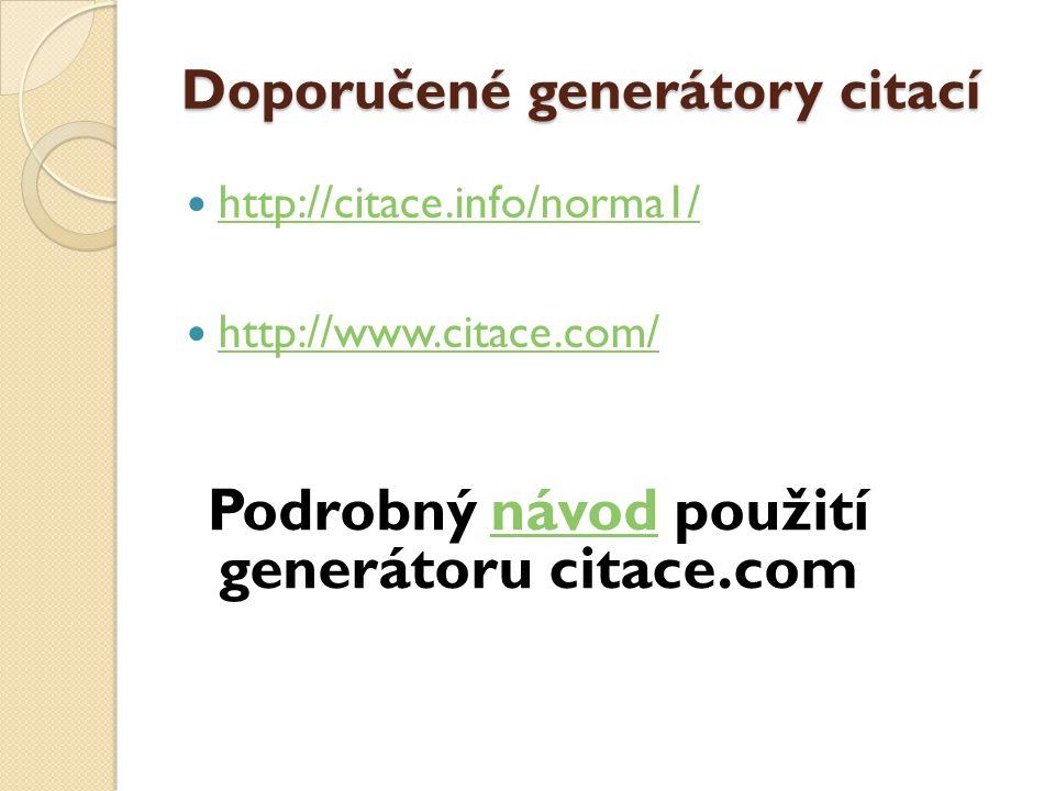 Doporučené generátory citací