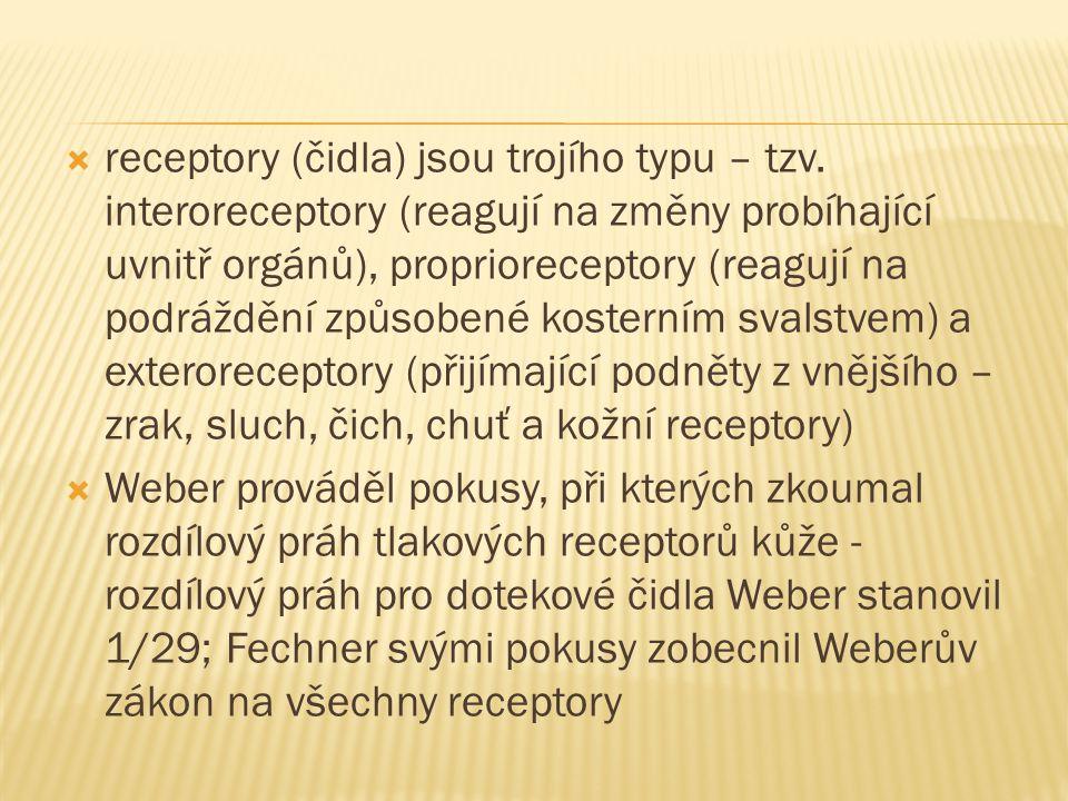 receptory (čidla) jsou trojího typu – tzv