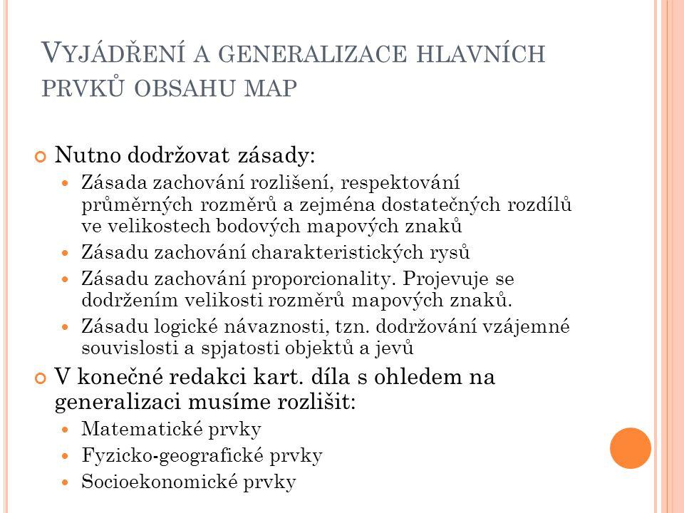 Vyjádření a generalizace hlavních prvků obsahu map