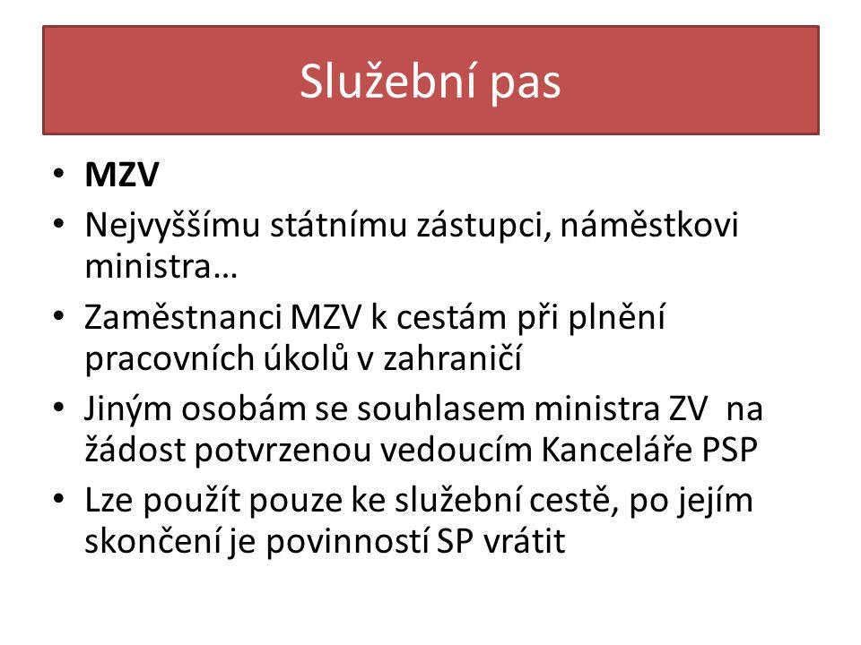 Služební pas MZV Nejvyššímu státnímu zástupci, náměstkovi ministra…