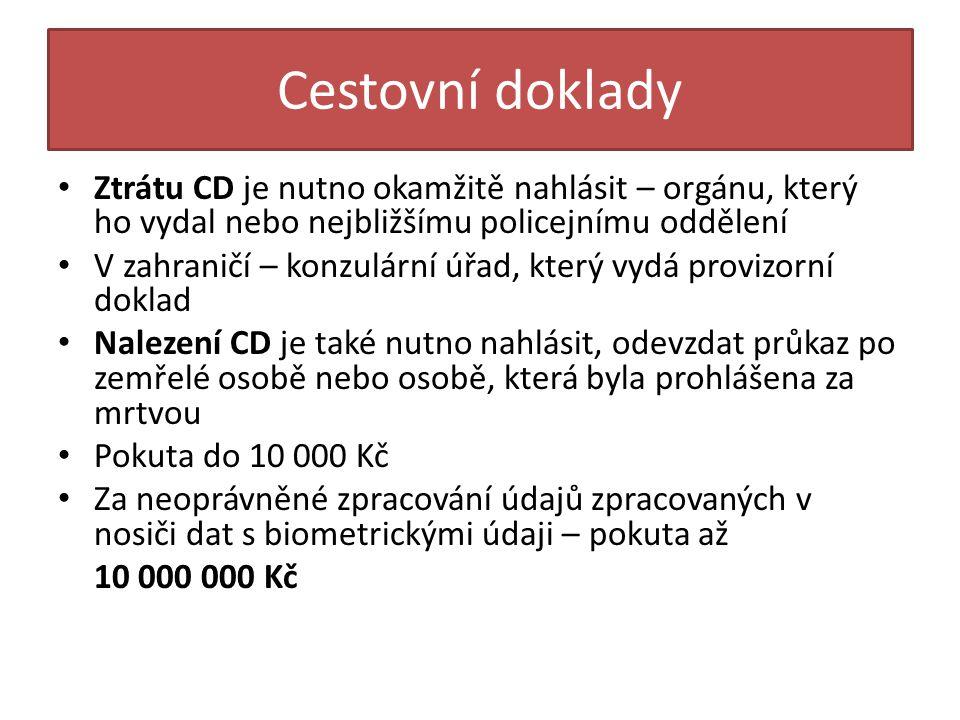 Cestovní doklady Ztrátu CD je nutno okamžitě nahlásit – orgánu, který ho vydal nebo nejbližšímu policejnímu oddělení.