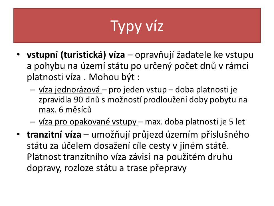 Typy víz vstupní (turistická) víza – opravňují žadatele ke vstupu a pohybu na území státu po určený počet dnů v rámci platnosti víza . Mohou být :
