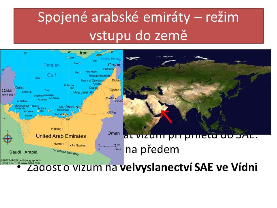 Spojené arabské emiráty – režim vstupu do země