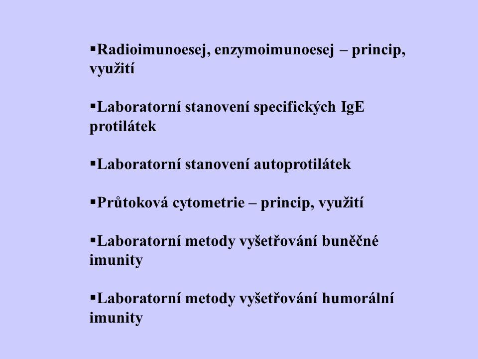 Radioimunoesej, enzymoimunoesej – princip, využití