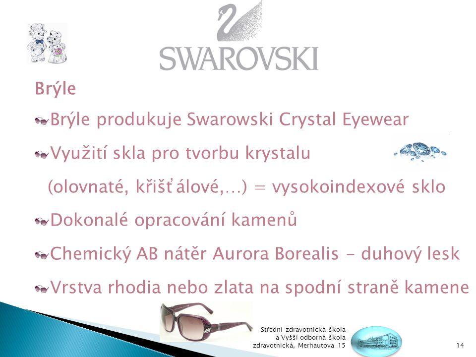 Brýle produkuje Swarowski Crystal Eyewear