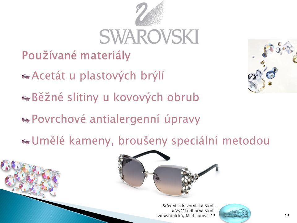 Acetát u plastových brýlí Běžné slitiny u kovových obrub