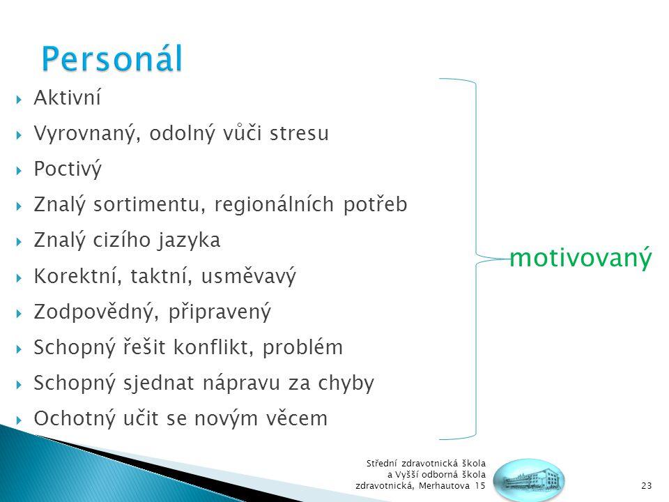 Personál motivovaný Aktivní Vyrovnaný, odolný vůči stresu Poctivý