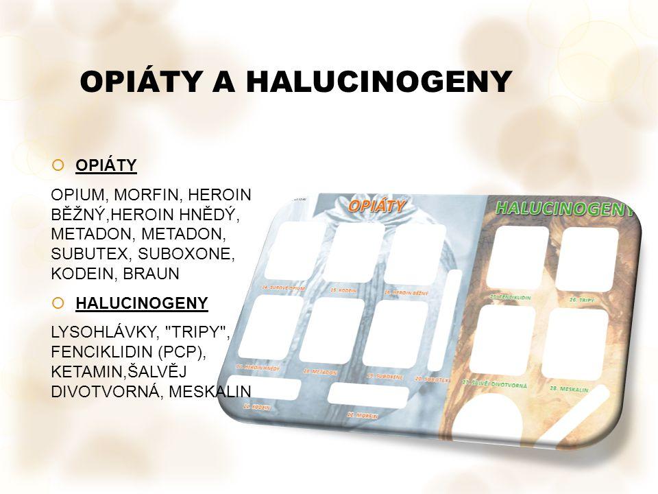 OPIÁTY A HALUCINOGENY Vložka č. 3 ukazuje opiáty a halucinogeny OPIÁTY