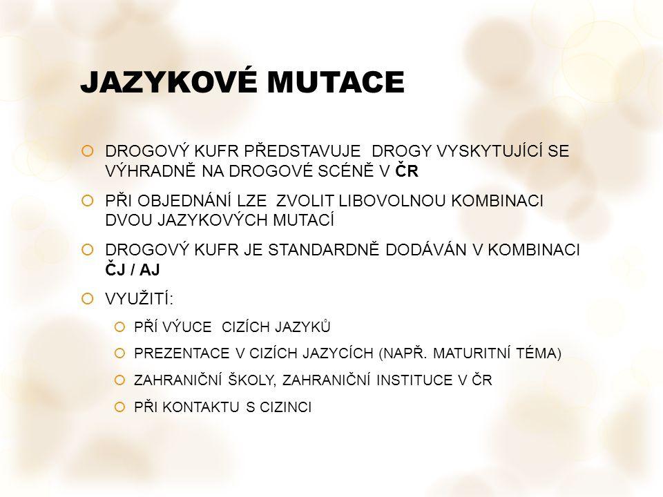 JAZYKOVÉ MUTACE DROGOVÝ KUFR PŘEDSTAVUJE DROGY VYSKYTUJÍCÍ SE VÝHRADNĚ NA DROGOVÉ SCÉNĚ V ČR.