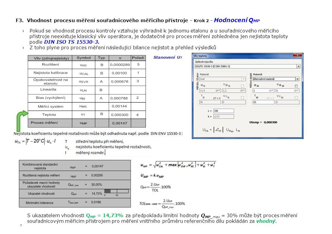 F3. Vhodnost procesu měření souřadnicového měřicího přístroje - Krok 2 - Hodnocení QMP