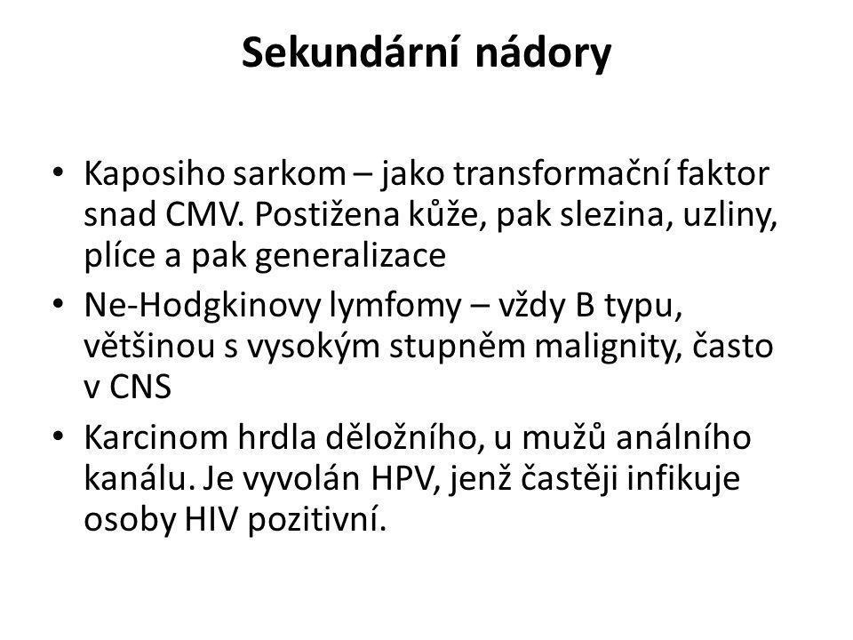 Sekundární nádory Kaposiho sarkom – jako transformační faktor snad CMV. Postižena kůže, pak slezina, uzliny, plíce a pak generalizace.