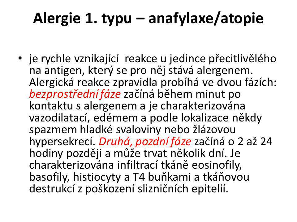 Alergie 1. typu – anafylaxe/atopie