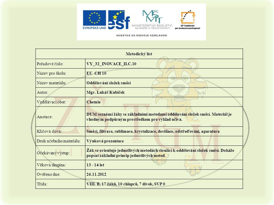 Metodický list Pořadové číslo: VY_32_INOVACE_II.C.10. Název pro školu: EU CH 10. Název materiálu: