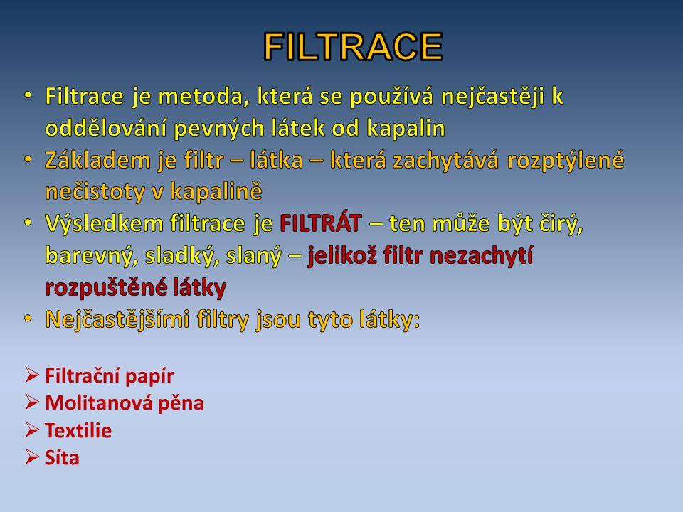 FILTRACE Filtrace je metoda, která se používá nejčastěji k oddělování pevných látek od kapalin.