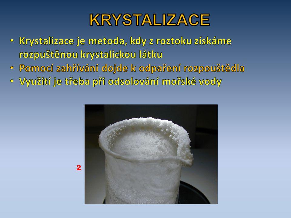 KRYSTALIZACE Krystalizace je metoda, kdy z roztoku získáme rozpuštěnou krystalickou látku. Pomocí zahřívání dojde k odpaření rozpouštědla.