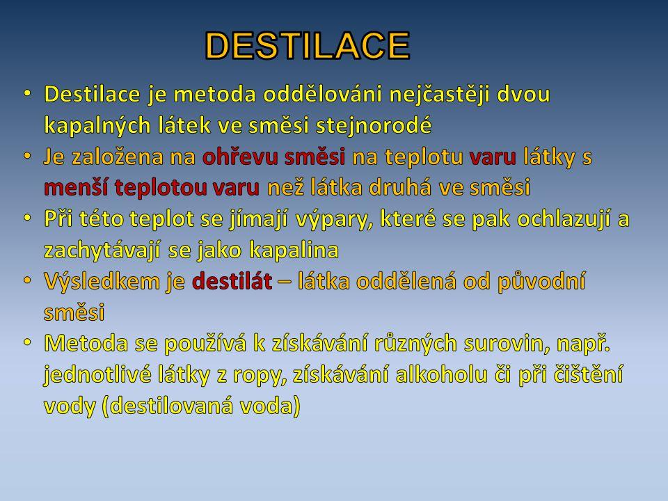 DESTILACE Destilace je metoda oddělováni nejčastěji dvou kapalných látek ve směsi stejnorodé.