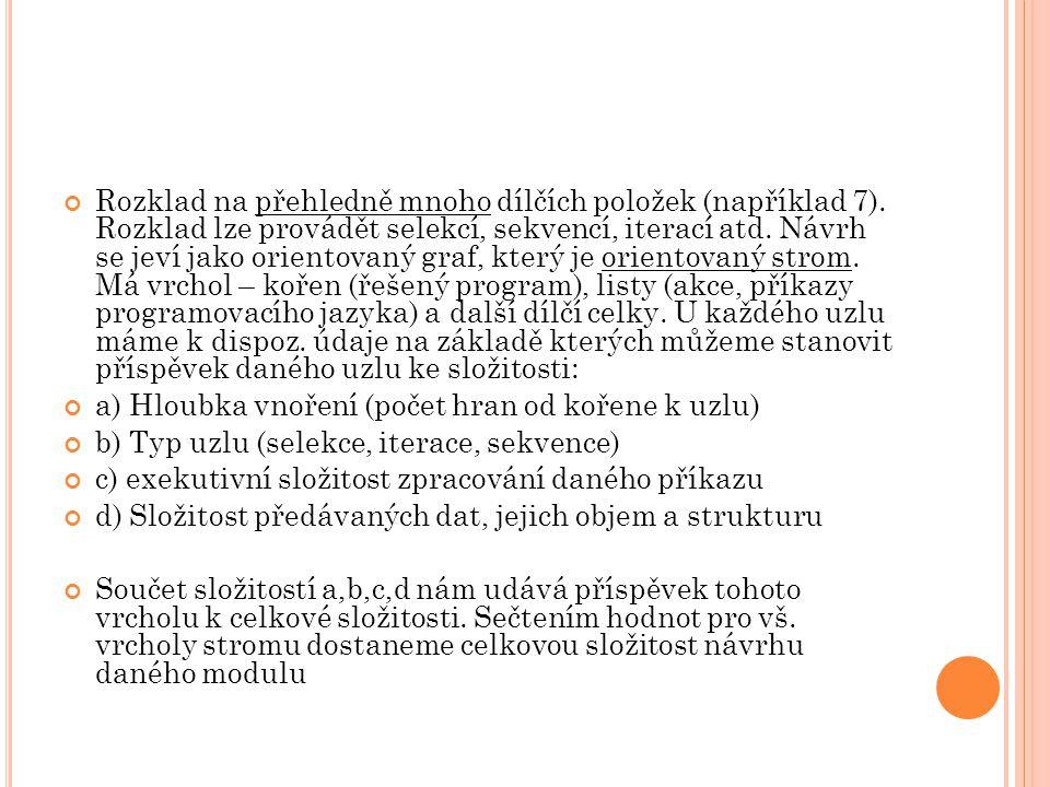Rozklad na přehledně mnoho dílčích položek (například 7)