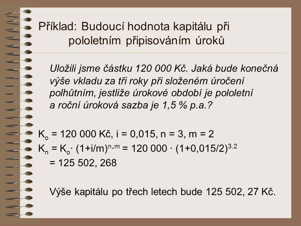 Příklad: Budoucí hodnota kapitálu při pololetním připisováním úroků