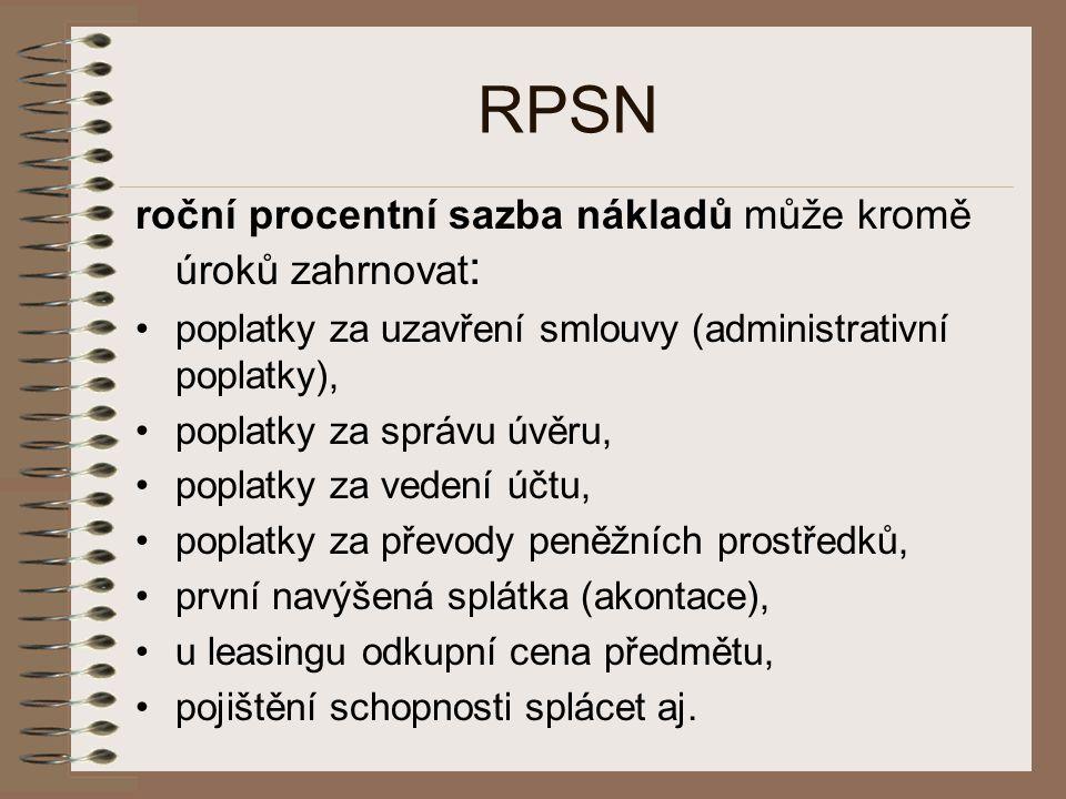 RPSN roční procentní sazba nákladů může kromě úroků zahrnovat: