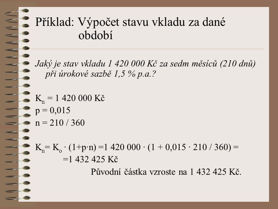 Příklad: Výpočet stavu vkladu za dané období
