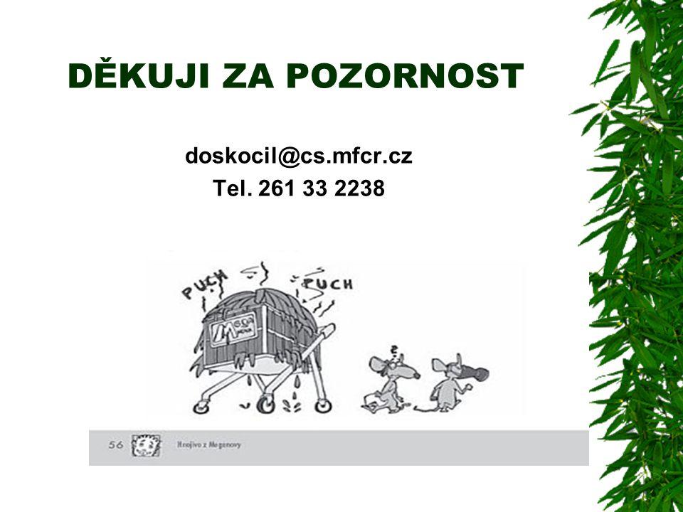 DĚKUJI ZA POZORNOST doskocil@cs.mfcr.cz Tel. 261 33 2238