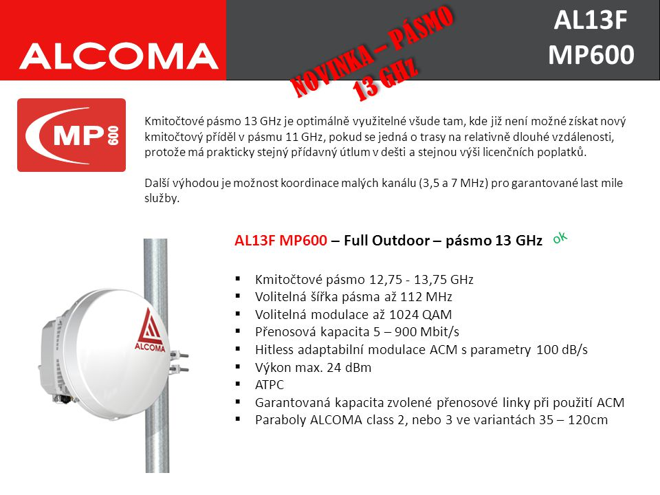 AL13F MP600 NOVINKA – PÁSMO 13 GHz