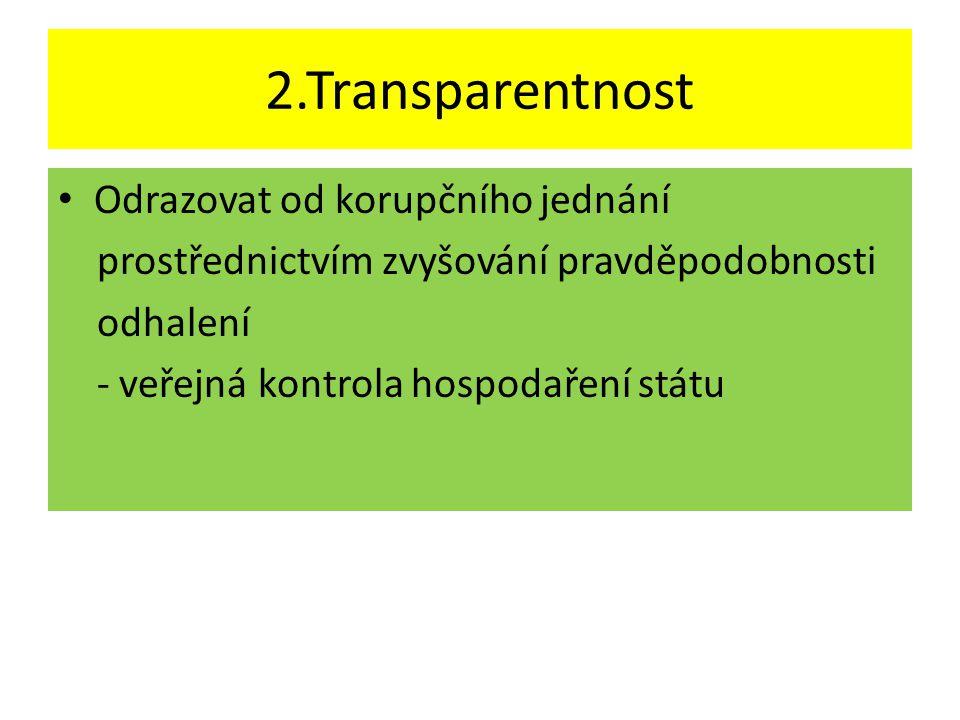 2.Transparentnost Odrazovat od korupčního jednání