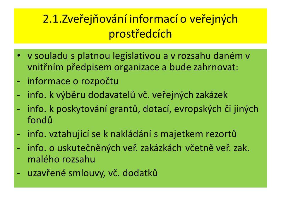2.1.Zveřejňování informací o veřejných prostředcích