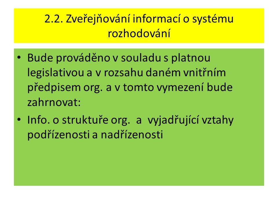 2.2. Zveřejňování informací o systému rozhodování