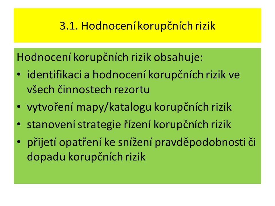 3.1. Hodnocení korupčních rizik