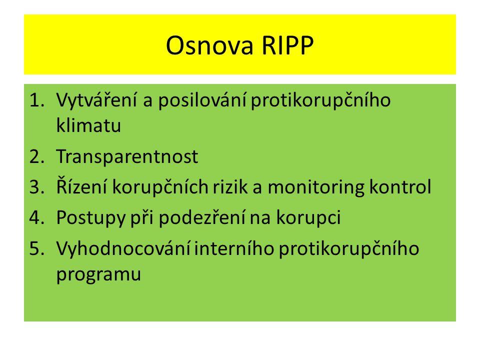 Osnova RIPP Vytváření a posilování protikorupčního klimatu