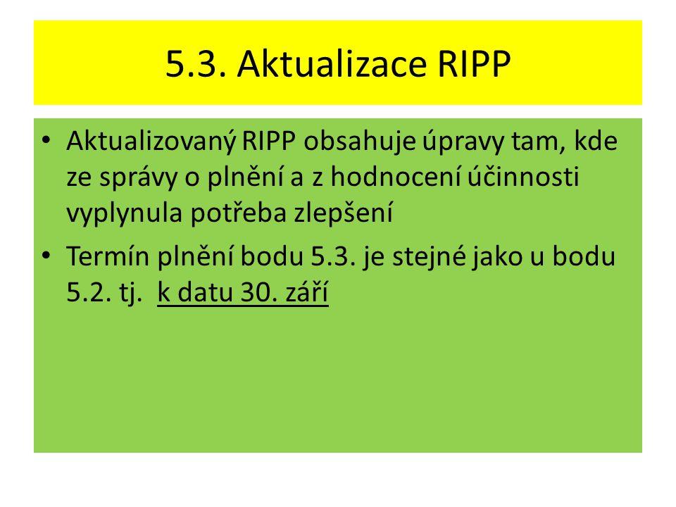 5.3. Aktualizace RIPP Aktualizovaný RIPP obsahuje úpravy tam, kde ze správy o plnění a z hodnocení účinnosti vyplynula potřeba zlepšení.