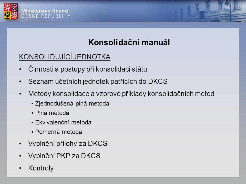 Konsolidační manuál KONSOLIDUJÍCÍ JEDNOTKA