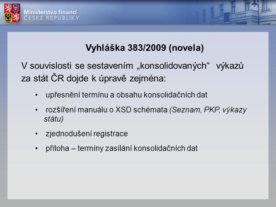 """Vyhláška 383/2009 (novela) V souvislosti se sestavením """"konsolidovaných výkazů za stát ČR dojde k úpravě zejména:"""
