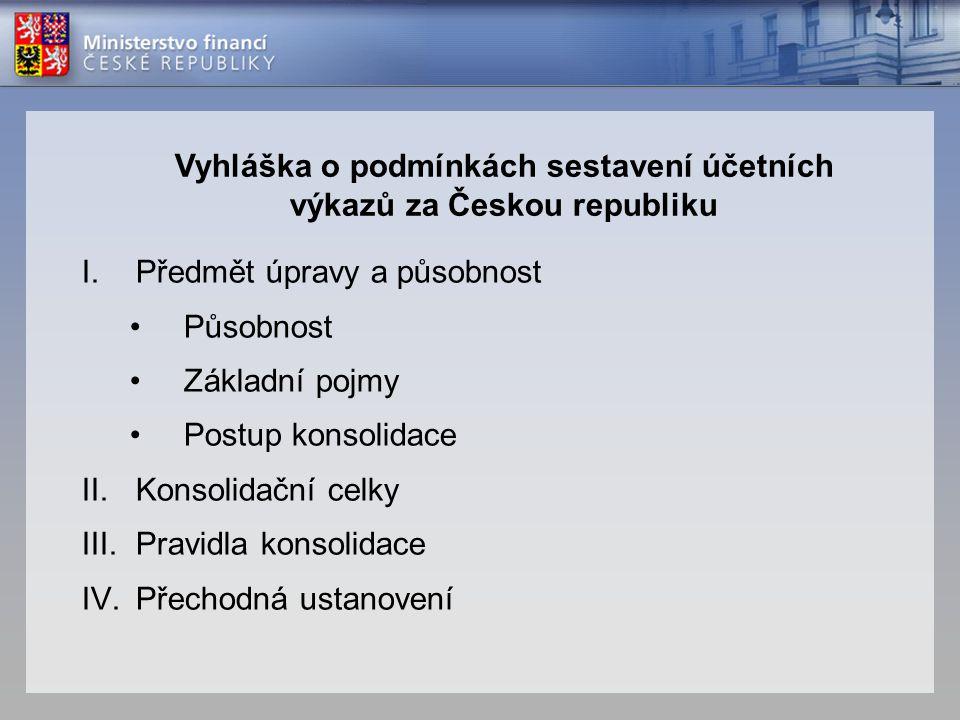 Vyhláška o podmínkách sestavení účetních výkazů za Českou republiku