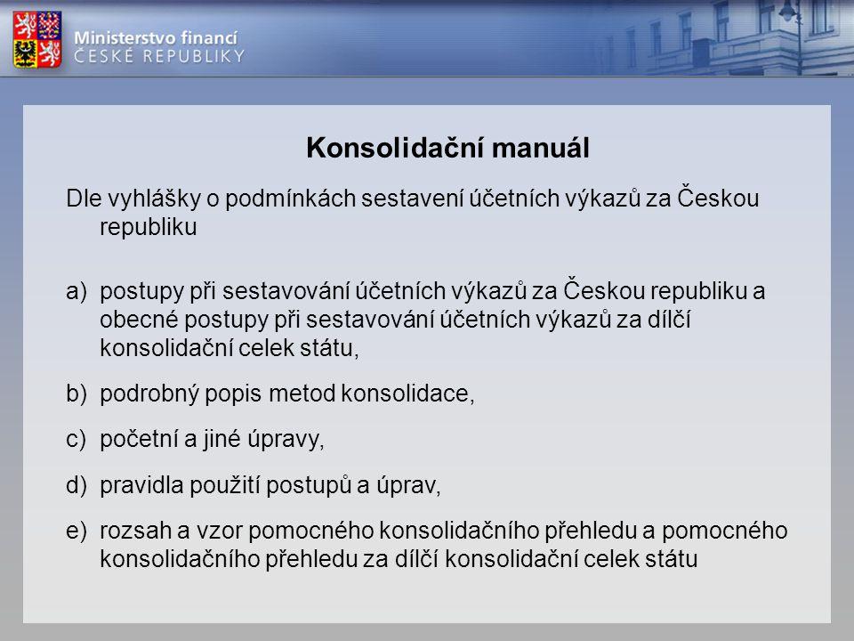 Konsolidační manuál Dle vyhlášky o podmínkách sestavení účetních výkazů za Českou republiku.