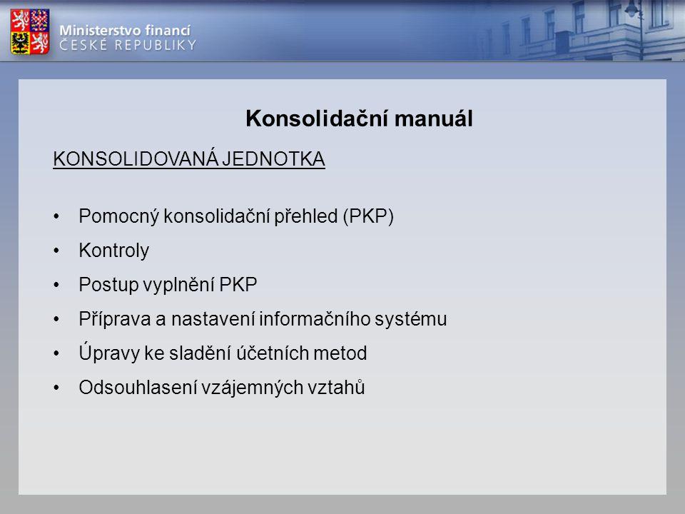 Konsolidační manuál KONSOLIDOVANÁ JEDNOTKA