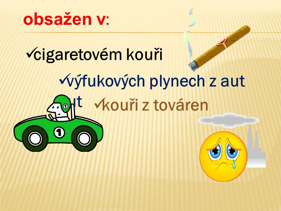 obsažen v: cigaretovém kouři výfukových plynech z aut aut kouři z továren